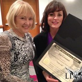 an Creamer & Jorja Fox with Jan's nomination certificate