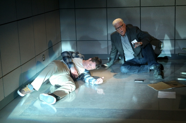 Both D.B. Russell (Ted Danson, right) and an injured Jacob Baker (Matt Shively) after a teenager opened fire in a police station and Russell is confronted with the shooter, on CSI: CRIME SCENE INVESTIGATION, Wednesday, April 2 (10:00 – 11:00 PM ET/PT) on the CBS Television Network. Photo: Sonja Flemming/CBS ©2014 CBS Broadcasting, Inc. All Rights Reserved